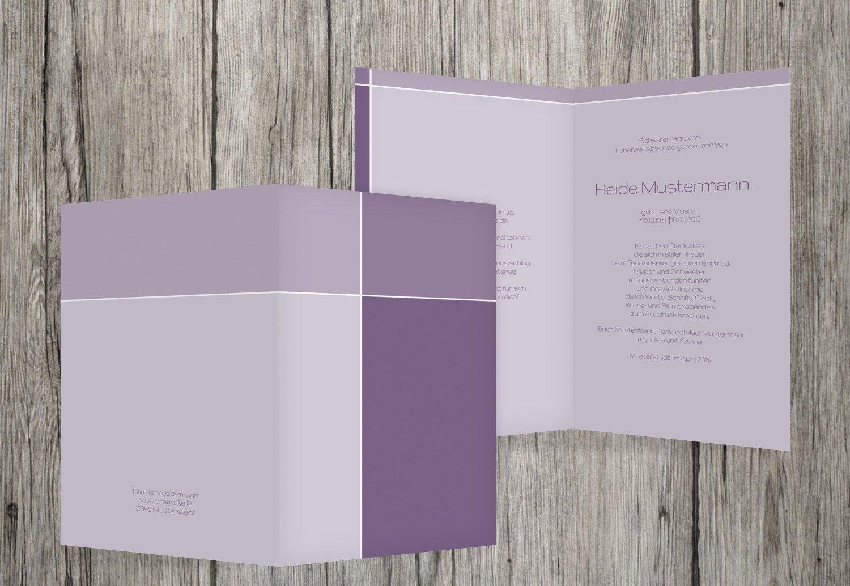 Tarjetas de agradecimiento luto Discreet Cross, pastellLila, 30 Karten