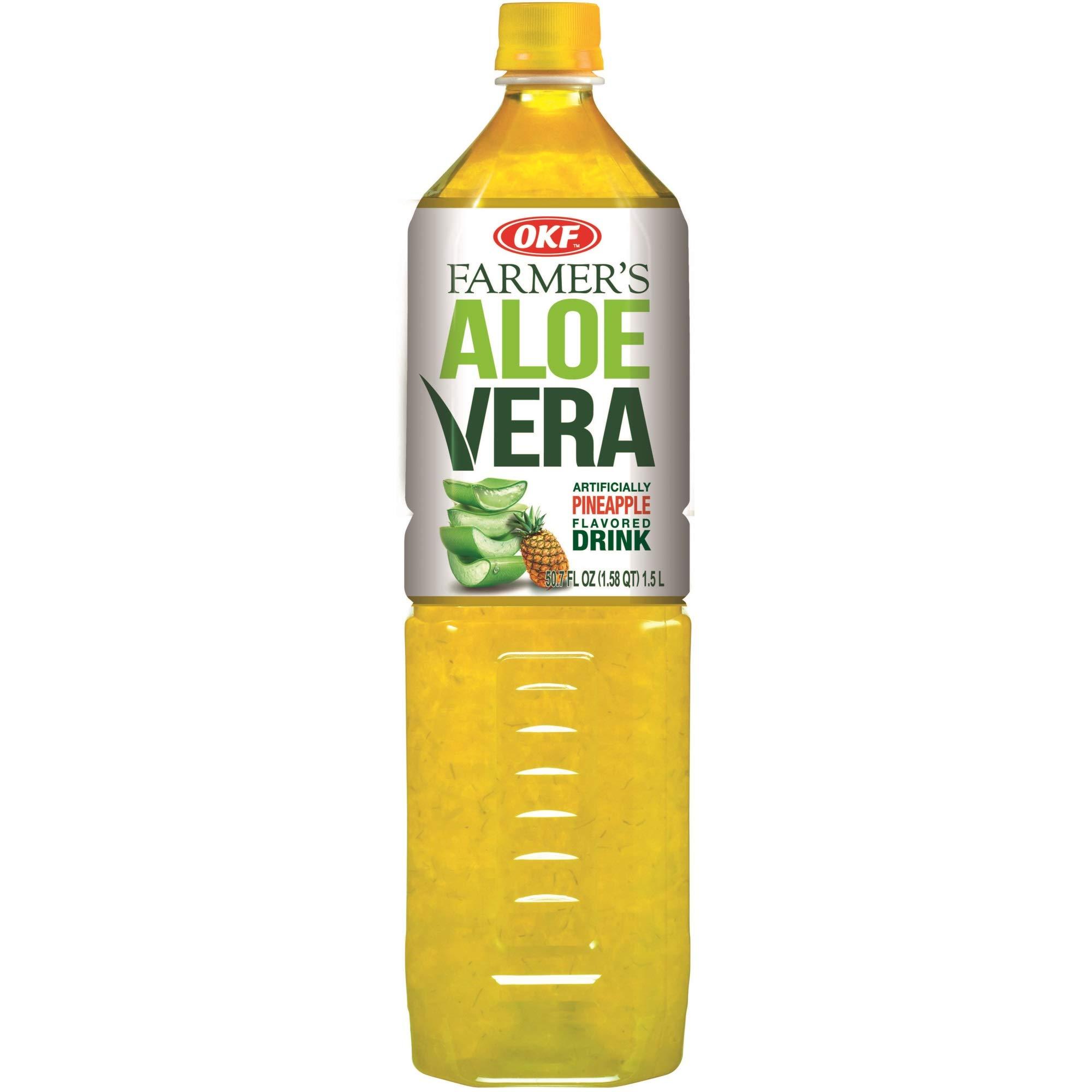OKF Farmer's Aloe Vera Drink, Pineapple, 1.5 Liter (Pack of 12) by OKF