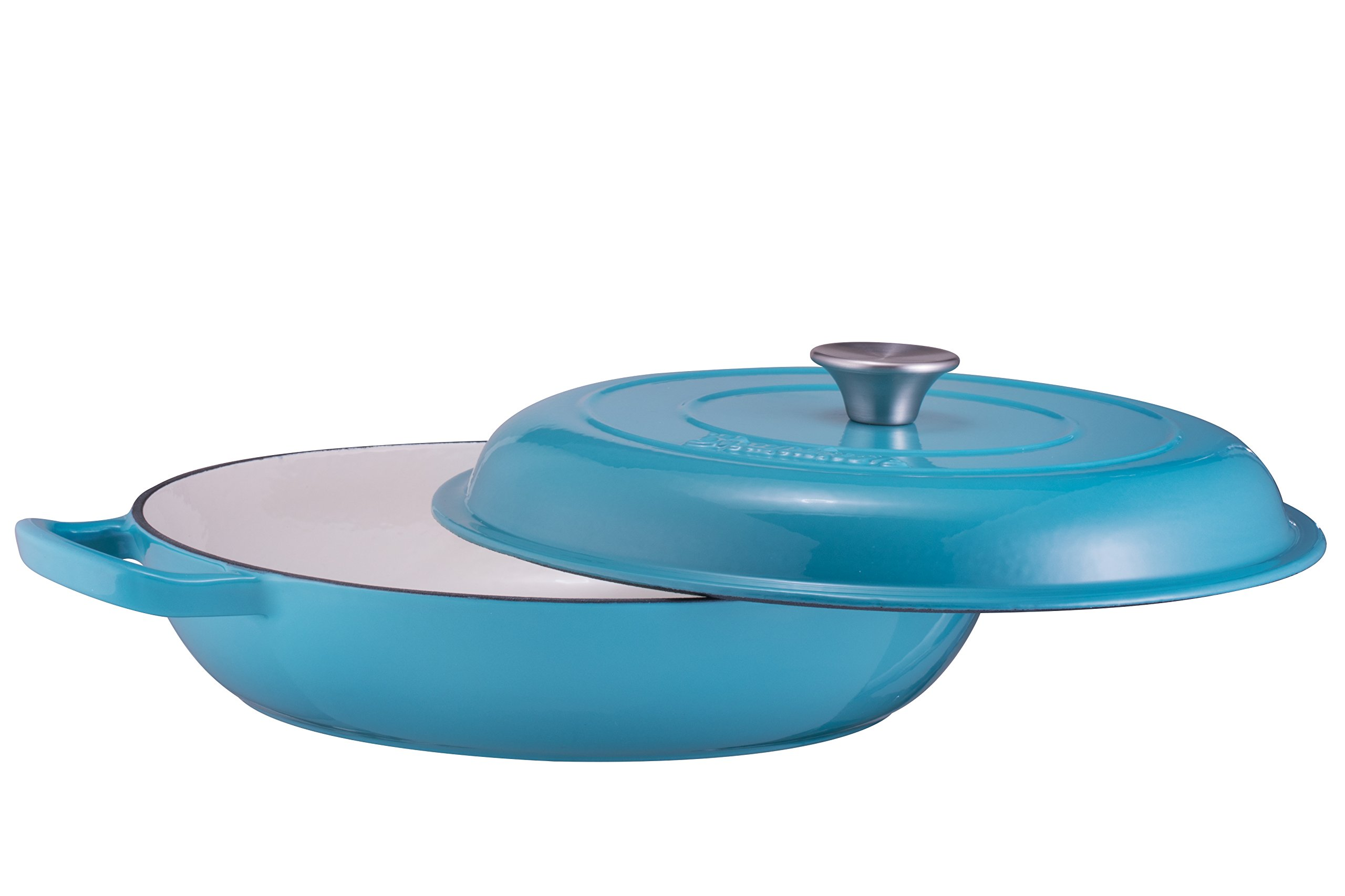Enameled Cast Iron Shallow Casserole Braiser Pan with Cover, 3.8-Quart, Marine Blue by Bruntmor (Image #2)