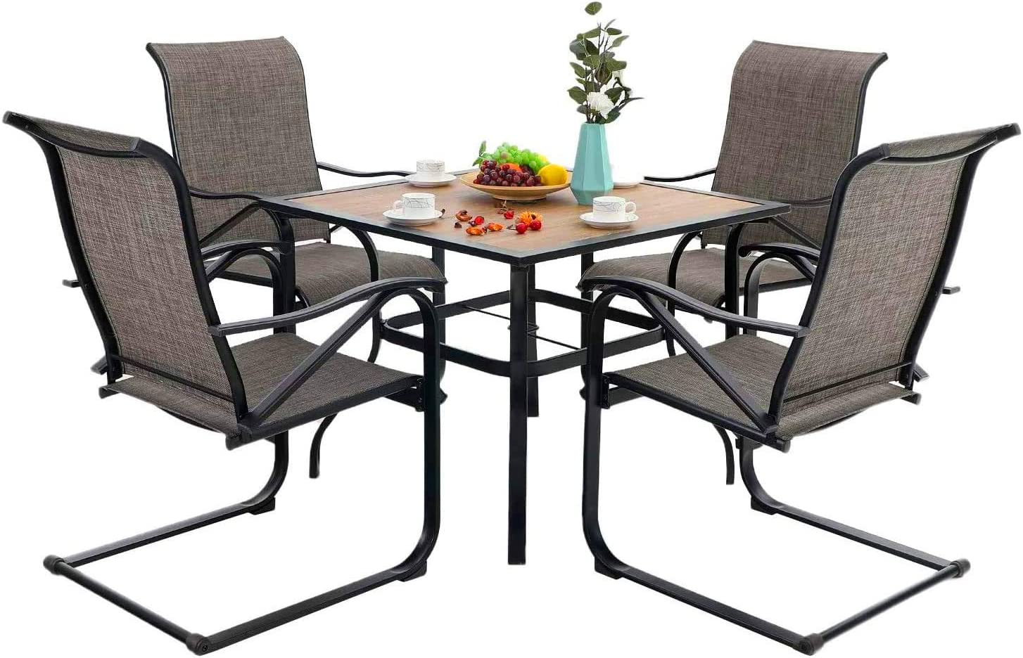 PHI VILLA 5 Piece Outdoor Dining Table Set for 4, Wood Top Metal Dining Table with Umbrella Hole & 4 Spring Sling Chairs for Patio, Deck, Yard