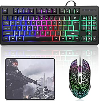 USB Backlight Computer Gaming Keyboard Mechanical Key Touch Mouse Game Set