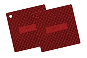 """Cuisinart Multipurpose 7x7"""" Square Flexible Silicone Kitchen Tool, Trivet/Pot Holder, Spoon Rest, Jar Opener, Coaster, & Heat Resistant Pad (up to 500 degrees F) Red 2pk"""