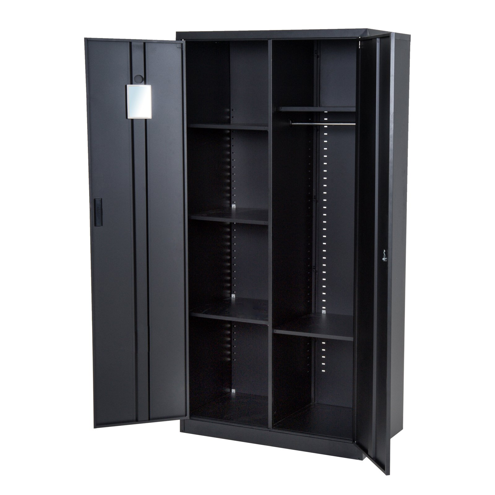 HOMCOM 71'' Cold Rolled Steel Lockable Garage Storage Cabinet with Shelves - Black by HOMCOM