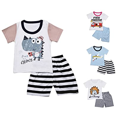 4b3a07ede9fd 4 Funny Styles Baby Boys Short Sleeve Cartoon Tees+Shorts Pants Two Piece  Summer Suits