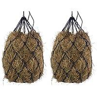 "B BLOOMOAK 2 PCs Horse Hay Net 40"" Slow Feeder Hay Bag Equestrian Feeding Supplies (Black)"