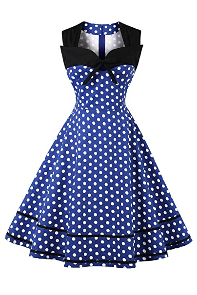 Yacun La Mujer Polka Dot Dress Cocktail Swing Rockabilly Vintage Años 50 Blue S