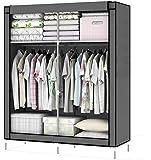 Intirilife Armario Tela Plegable 108x45x107 cm in Gris RATÓN – Organizador Guardar Ropa de Textil Tela Portátil con…