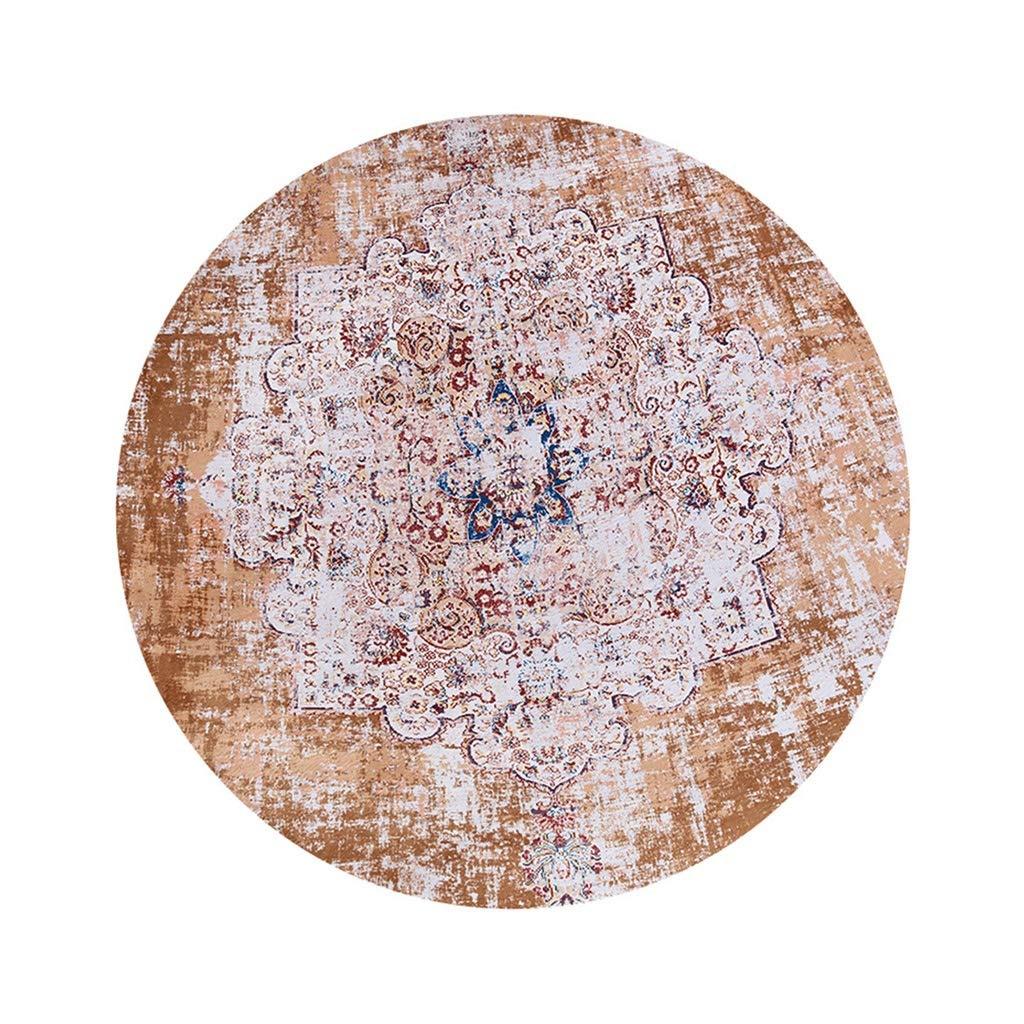 HAO SHOP Teppiche Amerikanischer Retro runder Teppich-Wohnzimmer-Schlafzimmer-Nachtteppich-einfacher Teppich (Farbe : Brown, größe : 160cm)