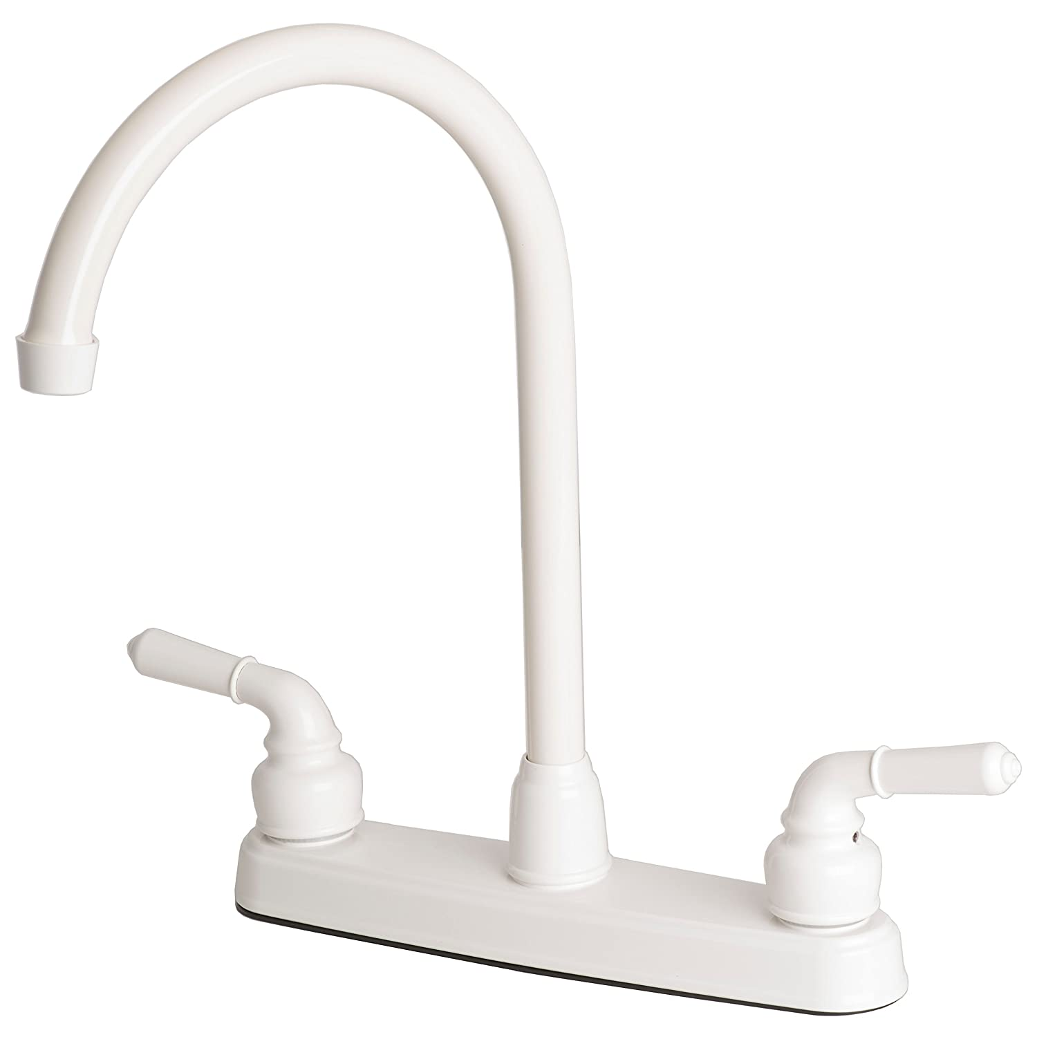 Builders Shoppe 1201WH RV Mobile Home Non-Metallic Two-Handle High Arc Swivel Kitchen Sink Faucet White Finish