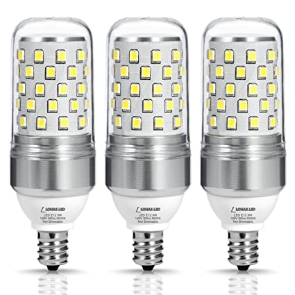 LOHAS E12 LED Candelabra Bulb, 85W Equivalent(9W LED Light Bulbs ...