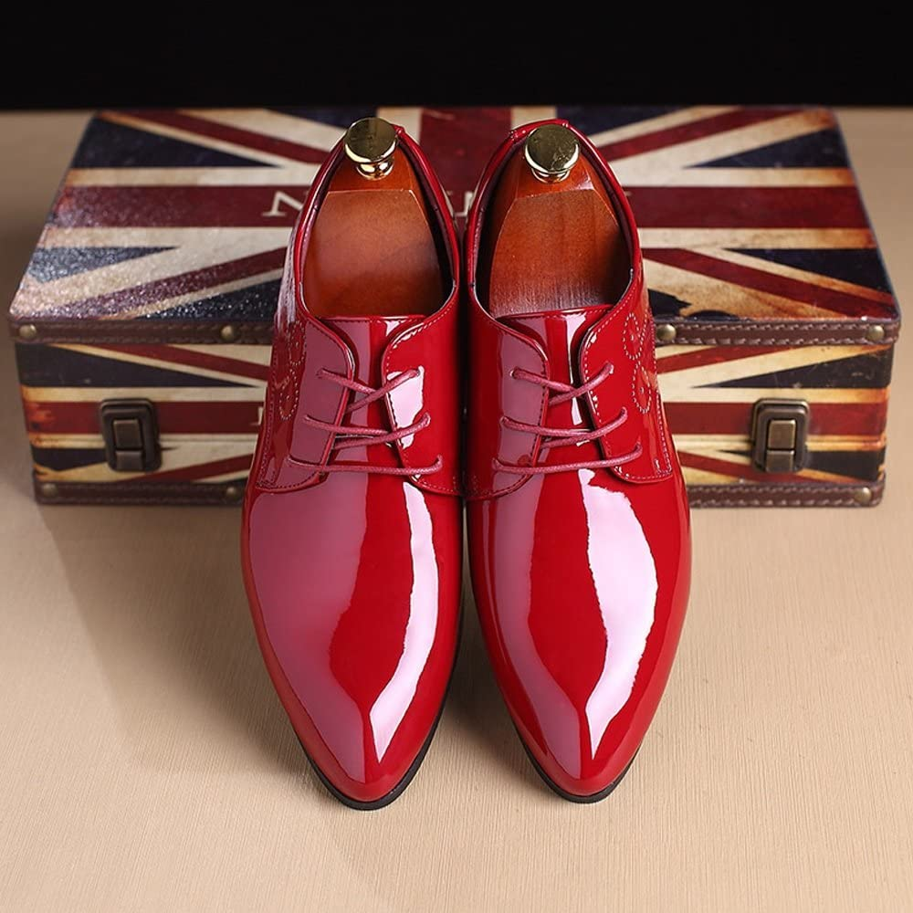 HYF Mens Smooth PU Leather Shoes Classic Lace Up Hollow Carving Formal Business Lined Oxfords Breathable Color : Red, Size : CN28