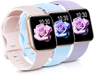 Sport Band Compatible with Apple Watch iWatch Bands 38mm 40mm,Soft Silicone Strap Wristbands for Apple Watch Series 3 6 5 4 2 1 SE Women Men Pack 3,Pink Sand/Lavende/Light Blue,38/40mm,S/M