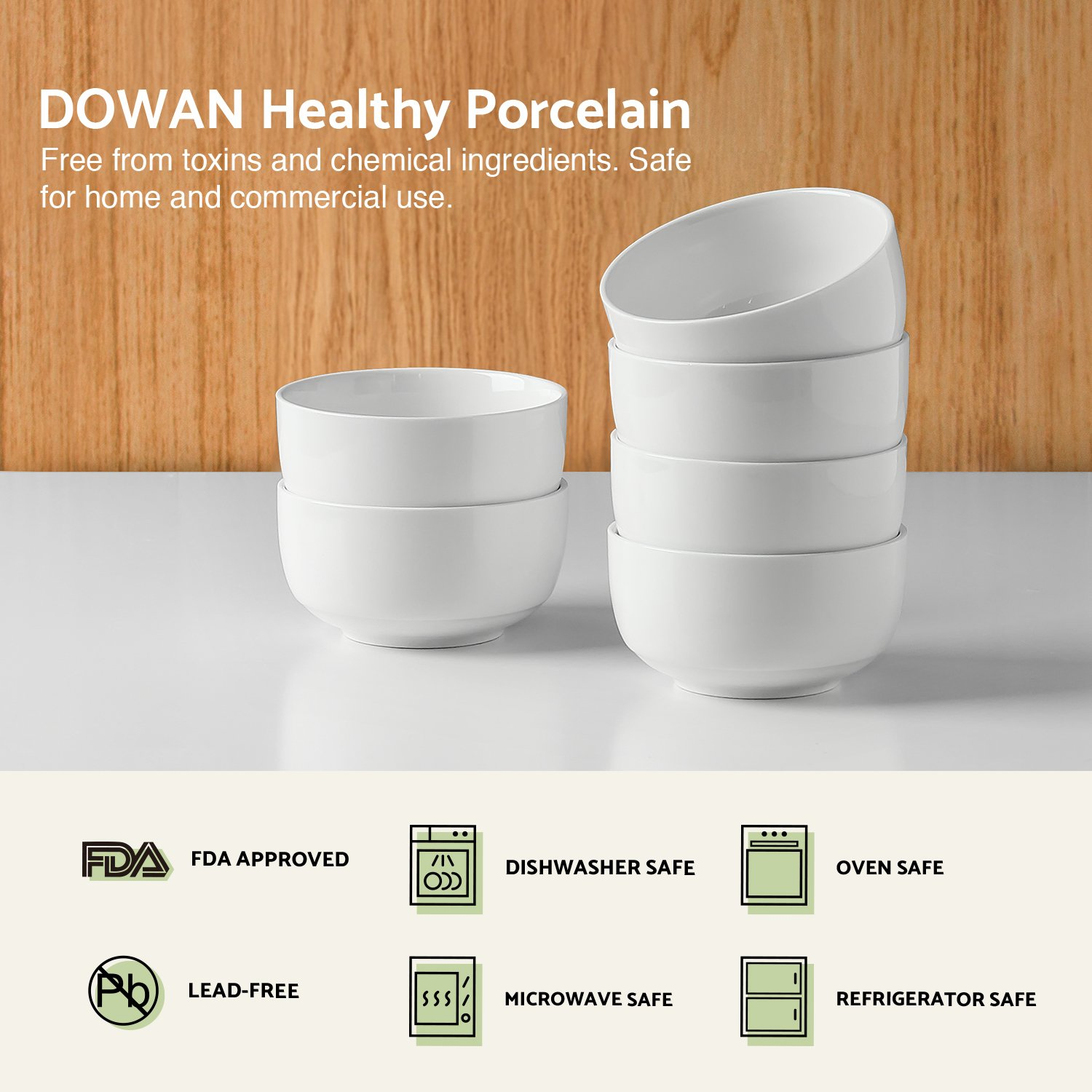 DOWAN 10-Ounce Porcelain Bowl Set - 6 Packs,White by DOWAN (Image #3)