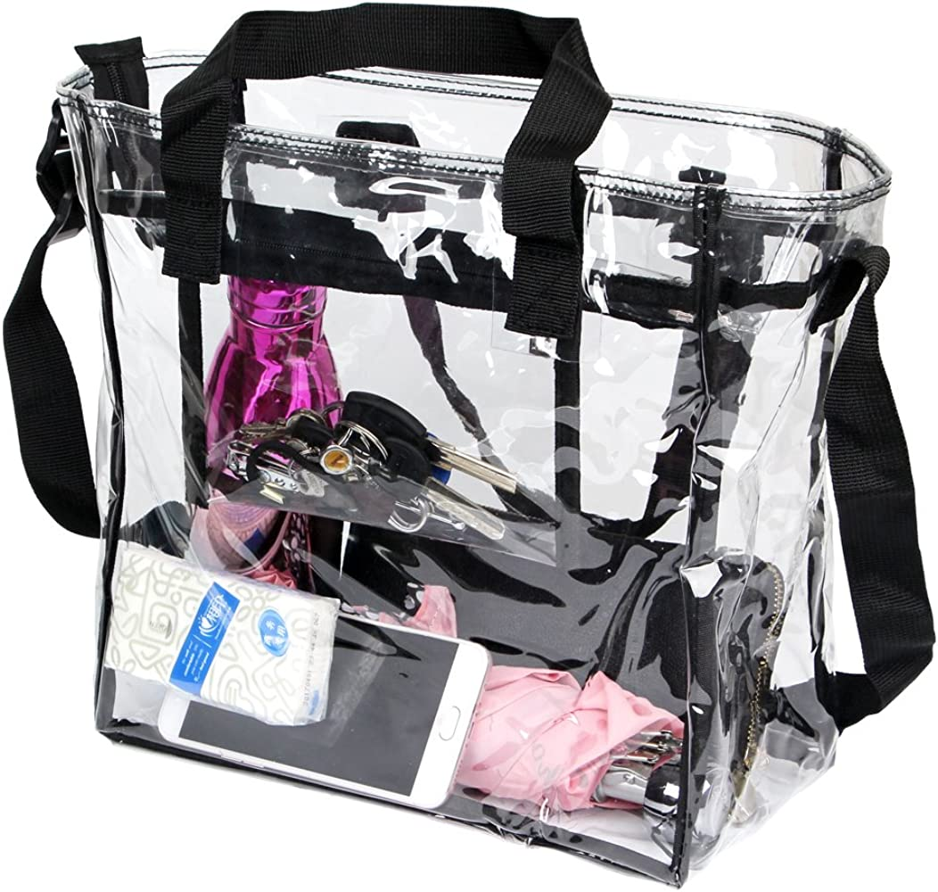 PUSTOR Clear Tote Bag Stadium Approved Compliant Clear Crossbody Messenger Shoulder Bag