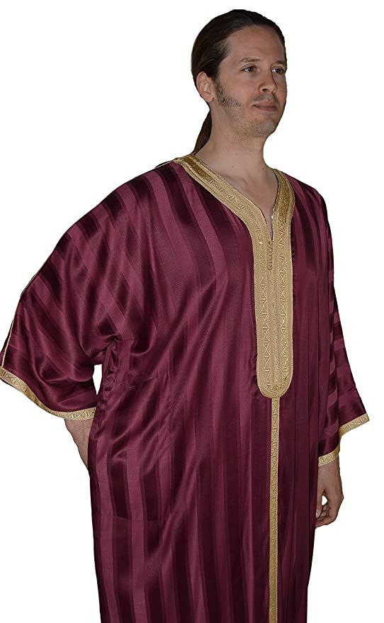 68cb0f7d6014fb Amazon.com  Moroccan Men Dress Caftan Handmade With Embroidery Tread Long  Sleeve Burgundy  Everything Else