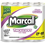 Marcal Double Roll Toilet Paper, Chimney Pack Bundle of 24 Sustainable and Septic Safe Bath Tissue 01626