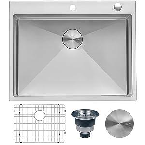 Ruvati 28-inch Drop-in Tight Radius Topmount 16 Gauge Stainless Steel Kitchen Sink Single Bowl - RVH8008