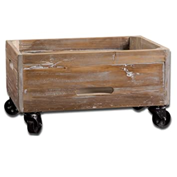 24u0026quot; Blake Gray Washed Reclaimed Wood Rolling Crate Storage Box