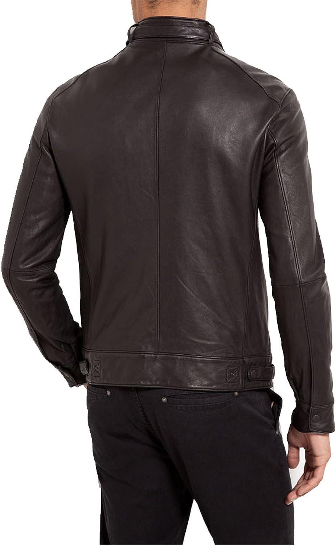 Mens Genuine Lambskin Leather Jacket Slim Fit Biker Motorcycle Jacket T268