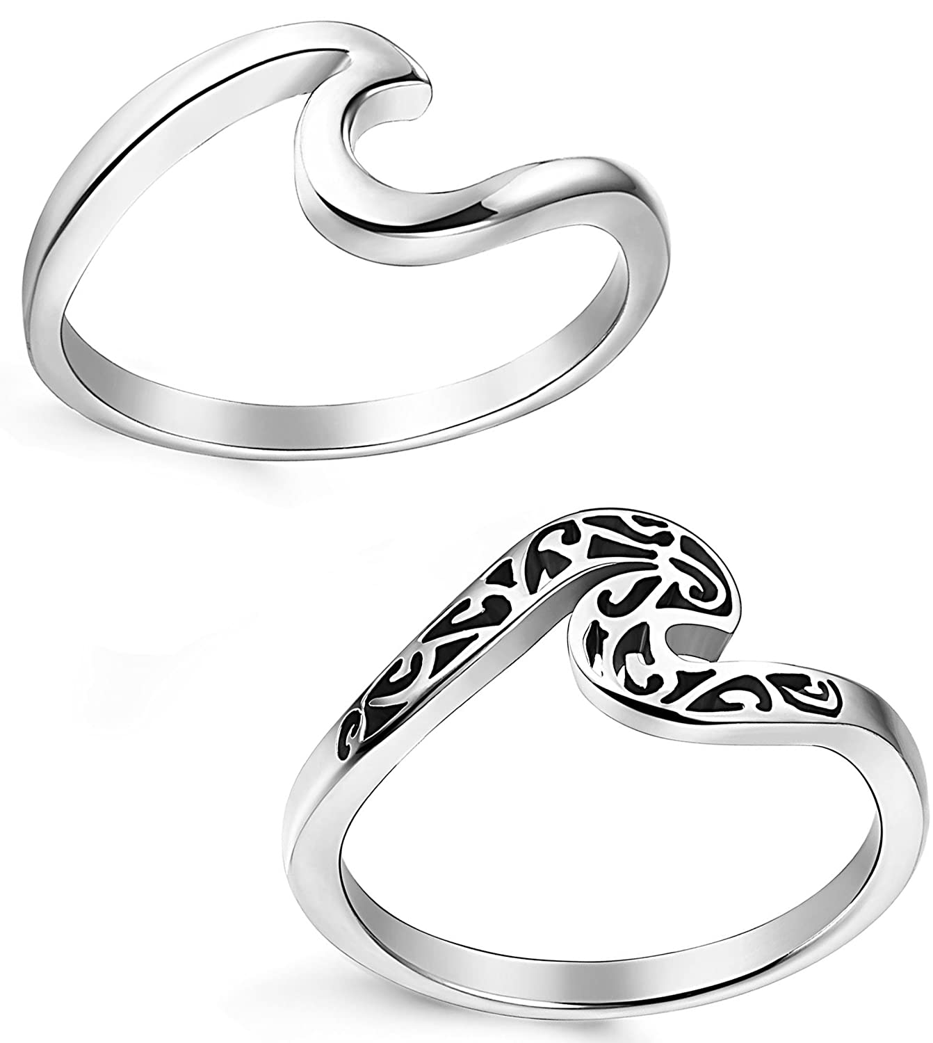 LOLIAS 2 Pcs Stainless Steel Rings for Women Girls Cute Wave Ring,Size 5-11 2JZ-WAVE-2P