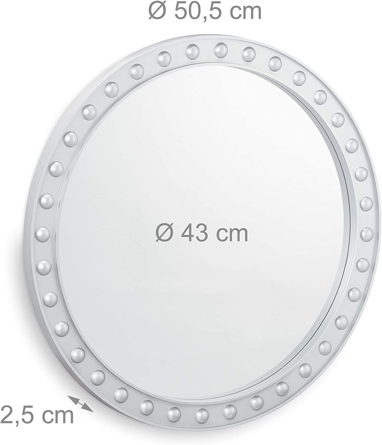 Relaxdays Round Wall Mirror, Hanging Mirror for Hallway, Living Room, Bathroom, ∅ app. 50.5cm with Frame, White Silver