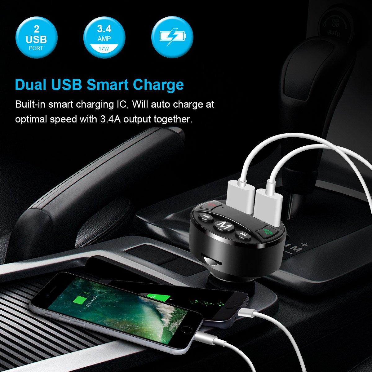 Elzo Kit de Voiture sans Fil Mains Libres Radio Adapteur Chargeur avec Double USB Ports /Écran dAffichage /& Support Carte TF /& USB Flash Drive Transmetteur FM Bluetooth C/âble Micro USB 2.4A /& 1A