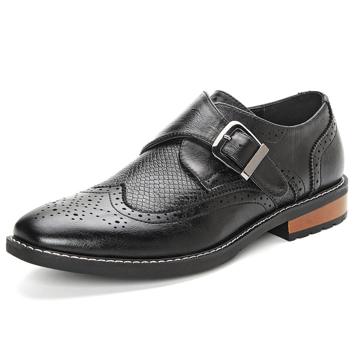 Men's Monk Strap Dress Shoes Wingtip Plaine Toe Single Buckle Slip on Loafer Black 10