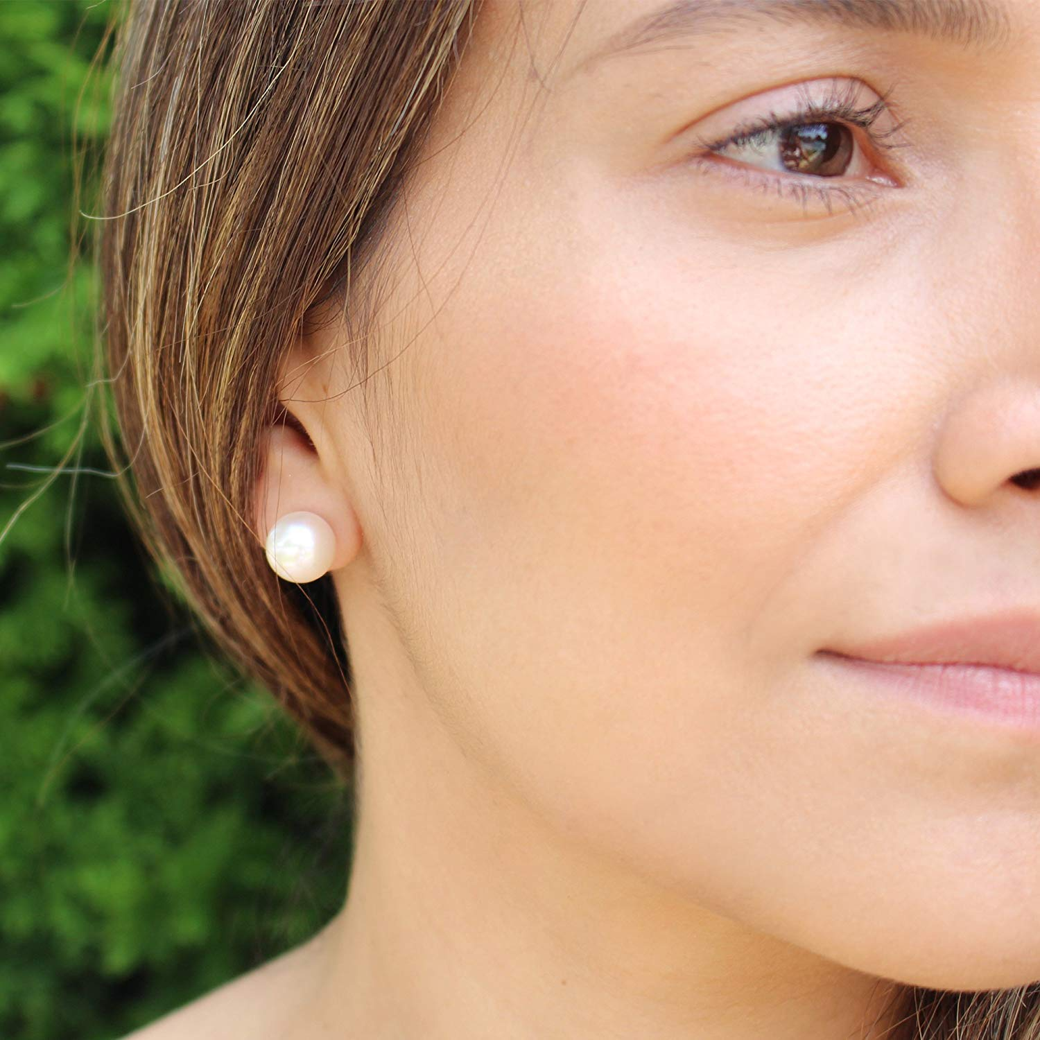 Choice of Pearl Sizes 14K White or Yellow Gold Freshwater Cultured Pearl Stud Earrings