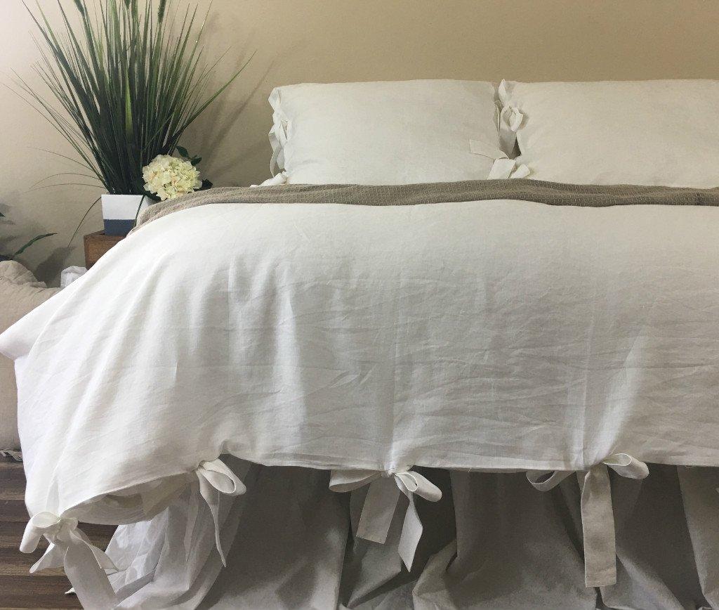 White Linen Duvet Cover With Bow Ties –mesmerizing white linen
