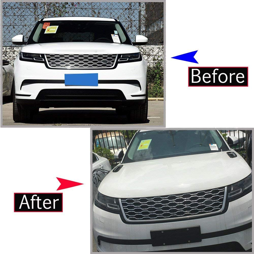 ABS Plastic Chrome Hood Panel Air Vent Outlet Wing Trim Cover Car Accessories for Landrover Range Rover Velar 2017 2018 Black Silver Autobro
