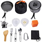 G4Free Camping Cookware Mess Kit 4/11/13/16 Piece Hiking Backpacking Picnic Cooking Bowl Non Stick Pot Pan Knife Spoon Set