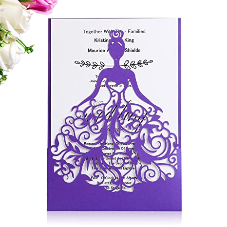 Ponatia 25pcs Laser Cut Crown Wedding Invitations Cards For Sweet 15 Quinceñera Birthday Party Invition Wedding Bridal Engagement Invite