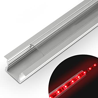 Jago - Perfil de aluminio - LED (para pared, vitrinas, escalera y otro) – modelo de tamaño 23,3/15,3 mm de color transparente: Amazon.es: Iluminación