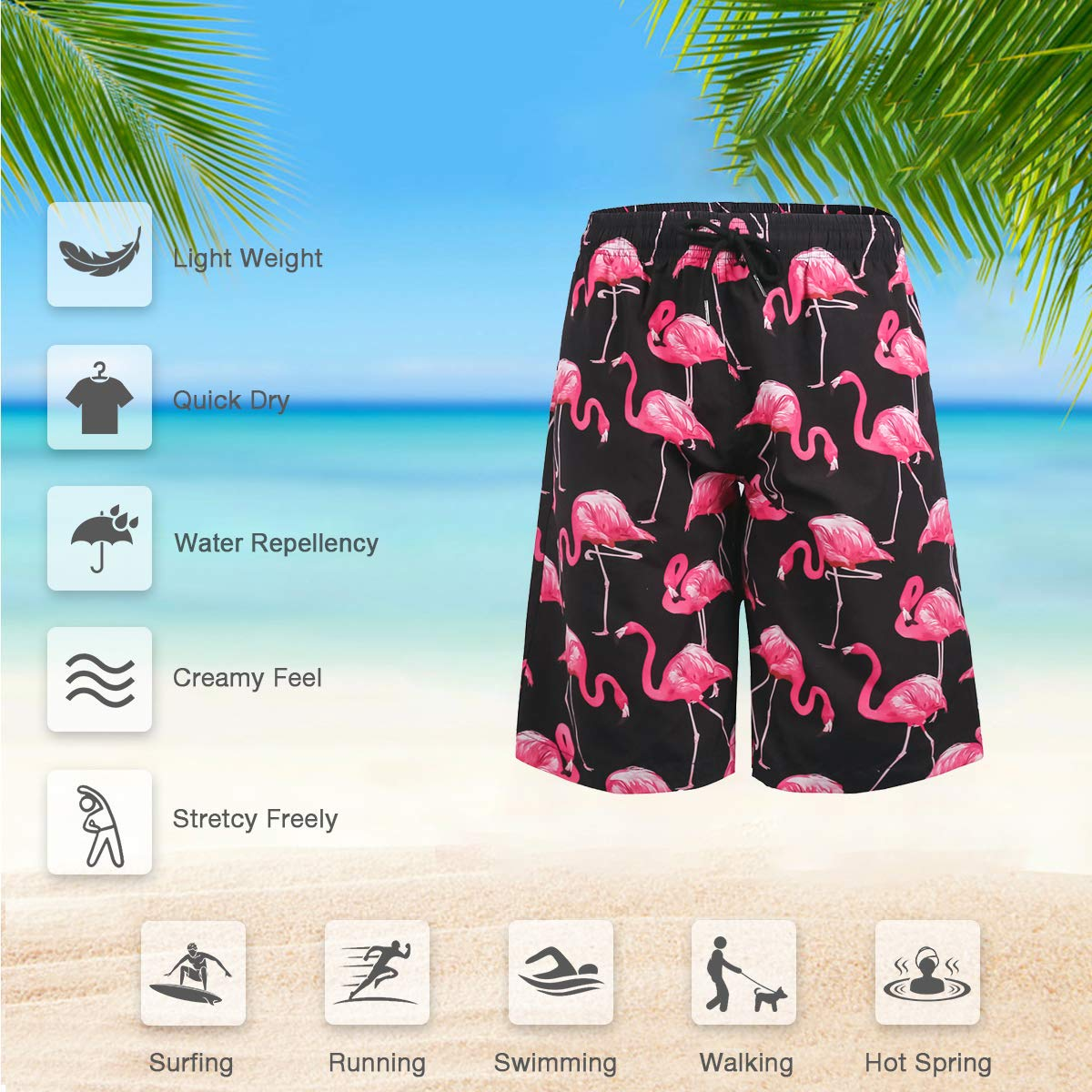 ZHPUAT Mens Swim Trunks Beach Board Shorts Quick Dry Bathing Suits Holiday Shorts