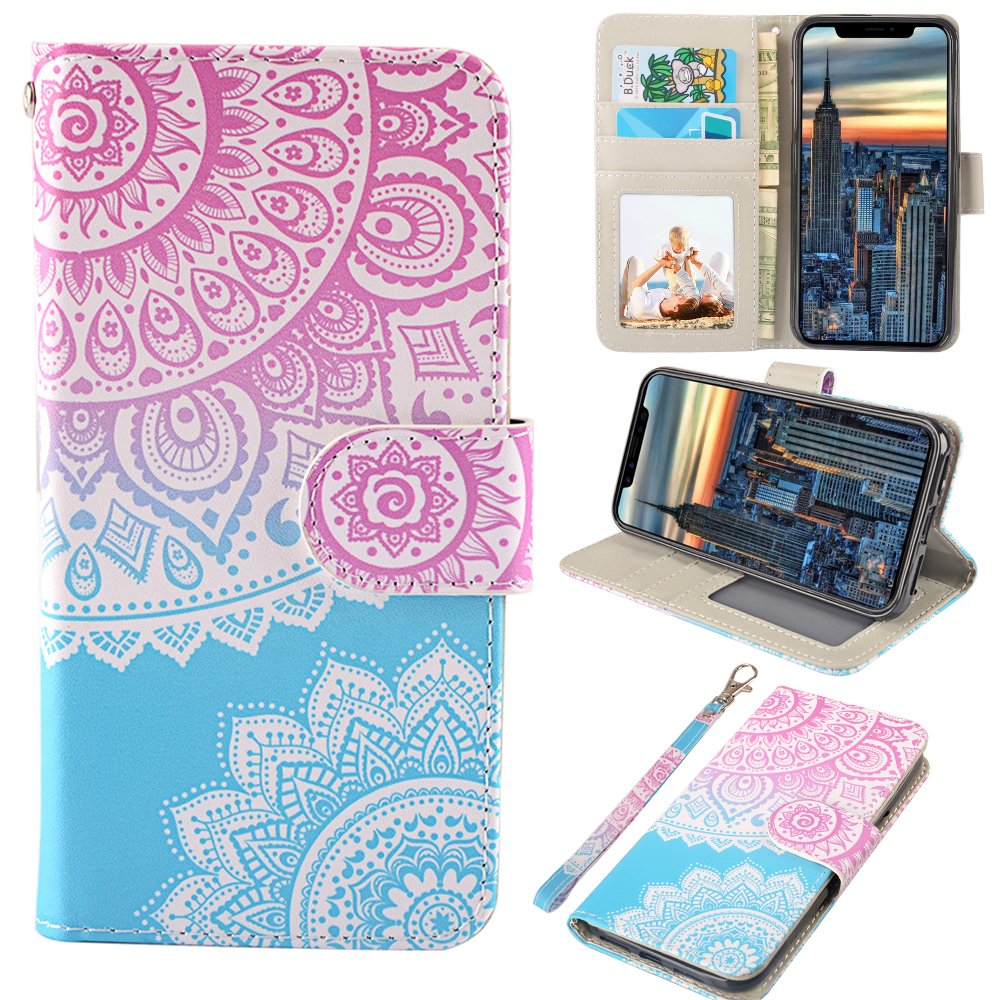 iPhone X Case, MagicSky iPhone X Wallet Case, Premium PU Leather Wristlet Flip Case Cover with Card Slots & Stand for Apple iPhoneX - Mandala