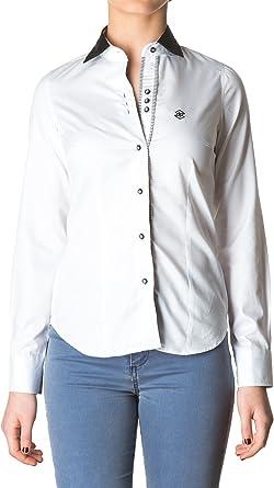 Di Prego - Camisa De Mujer Manga Larga De Color Blanco Con Cuello Y Puños Negros. Puños Reversible A Rayas Con Botones Para Ajustar El Ancho, Talla M: Amazon.es: Ropa y accesorios