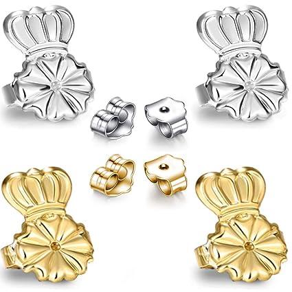 AmzonBasics 2 Earring Bullets Backs Gold//Silver Original Magic Earring Lifters Adjustable Earring Lifts Earring Backs Bullets and Patches 2 Pairs Earring Lifters 2 Lifters + 2 Bullets