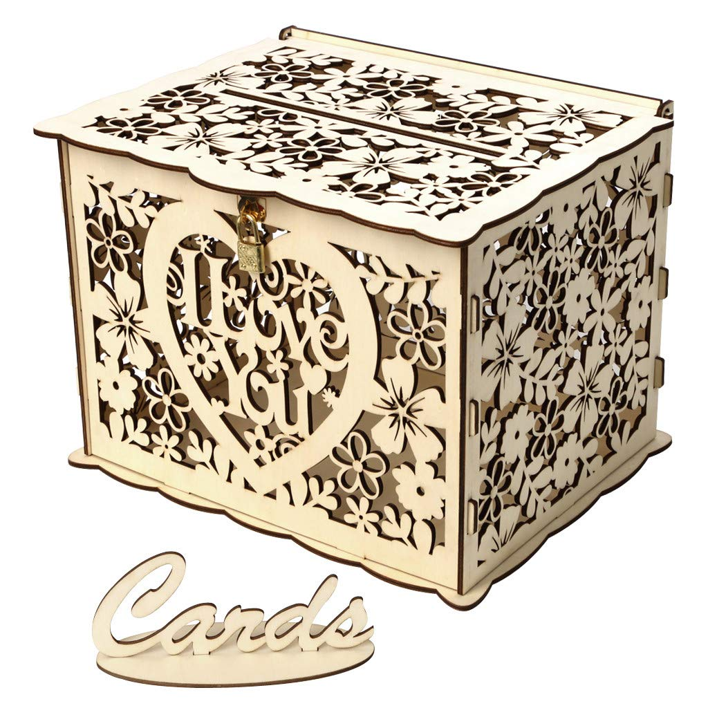 Lomsarsh New Wedding Card Box with Lock DIY Money Wooden Gift Boxes for Birthday Party Wooden Wedding Supplies Card Case