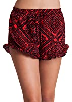 Woman Red Black Graphic Print Ruffle Hem Self Tie Front Shorts