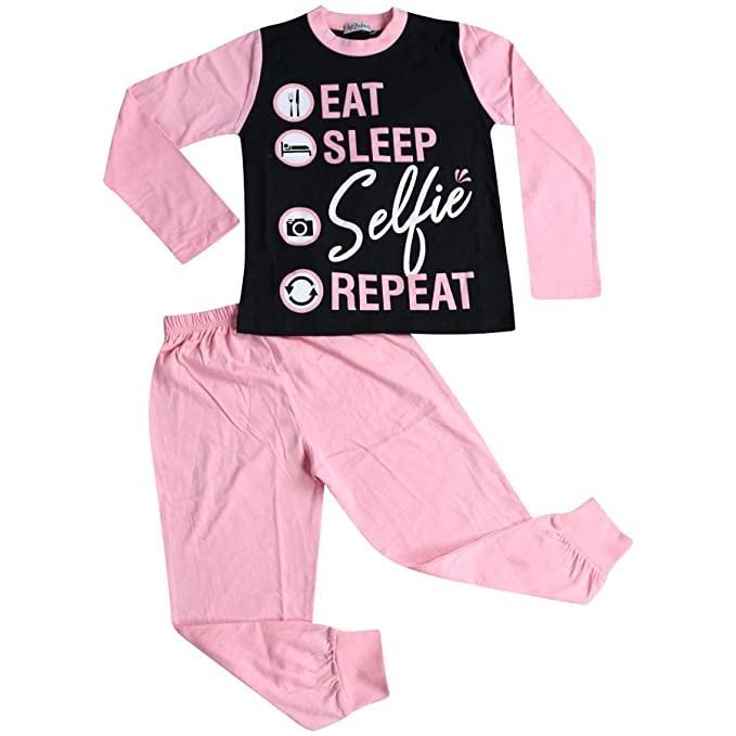 198844d9e Kids Girls Boys Pyjamas Designer Eat Sleep Selfie Repeat Lounge Wear ...