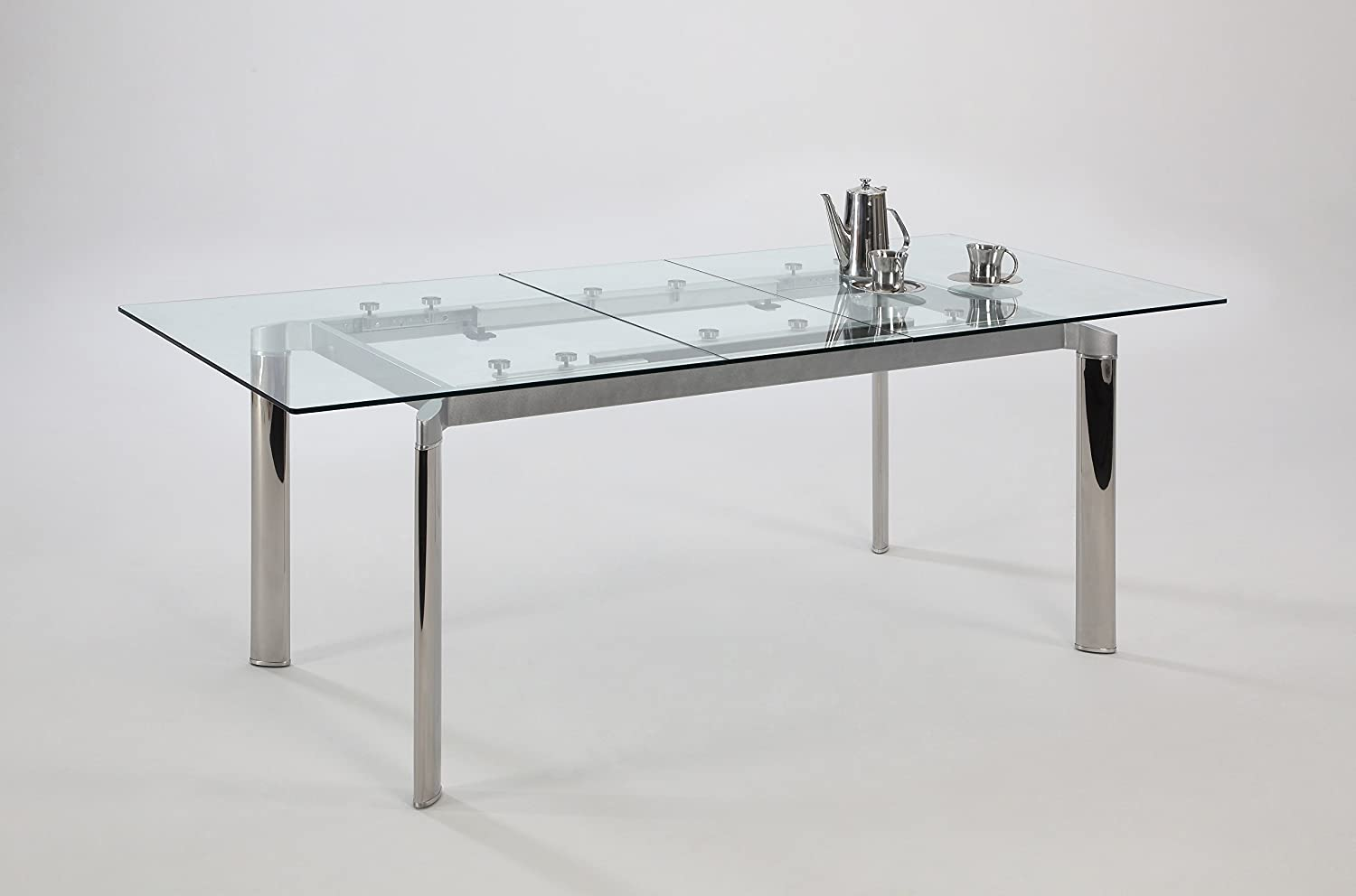 Amazon.com: Chintaly Imports Pop Up Extension Glass Dining Table, Stainless  Steel/Clear: Kitchen U0026 Dining