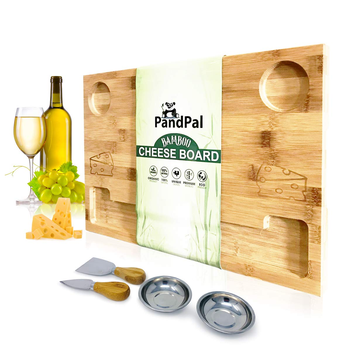 Bamboo Cheese Board Smile & Food Serving Tray - BONUS Stainless Steel KNIVES & BOWLS, Extra LARGE [16x11x1] Wooden Cutting Board Charcuterie Platter for Wine, Cracker, Brie, Meat, Dip, Chip by PandPal by PandPal