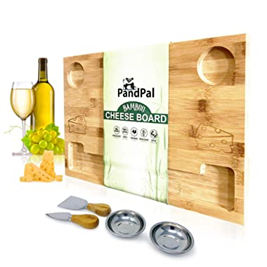 Bamboo Cheese Board Smile & Food Serving Tray - BONUS Stainless Steel KNIVES & BOWLS, Extra LARGE [16x11x1] Wooden Cutting Board Charcuterie Platter for Wine, Cracker, Brie, Meat, Dip, Chip by PandPal