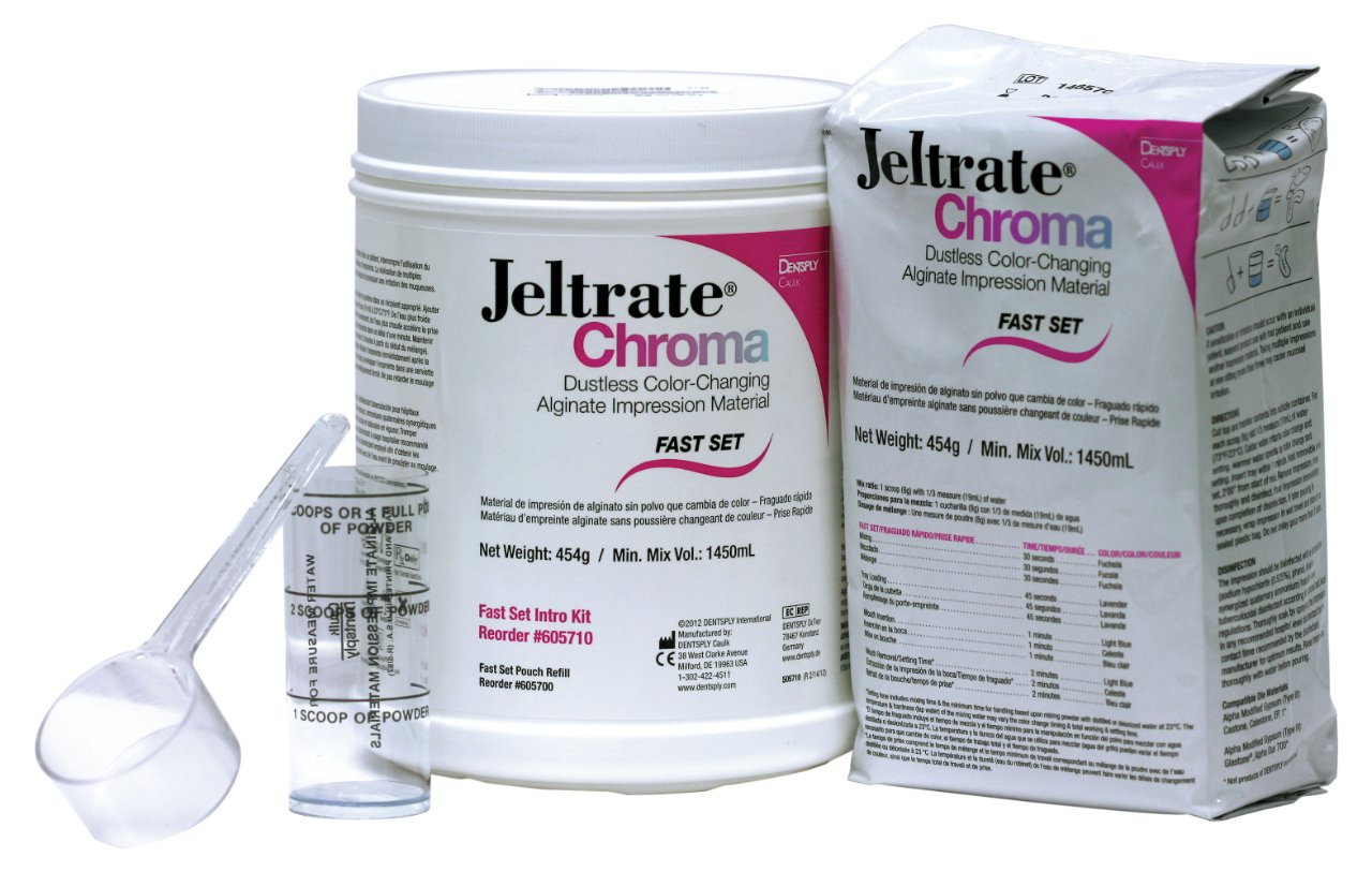 Dentsply 605700 Jeltrate Chroma Dustless Color Changing Alginate, Fast Set, 454 g Pouches (Pack of 12)