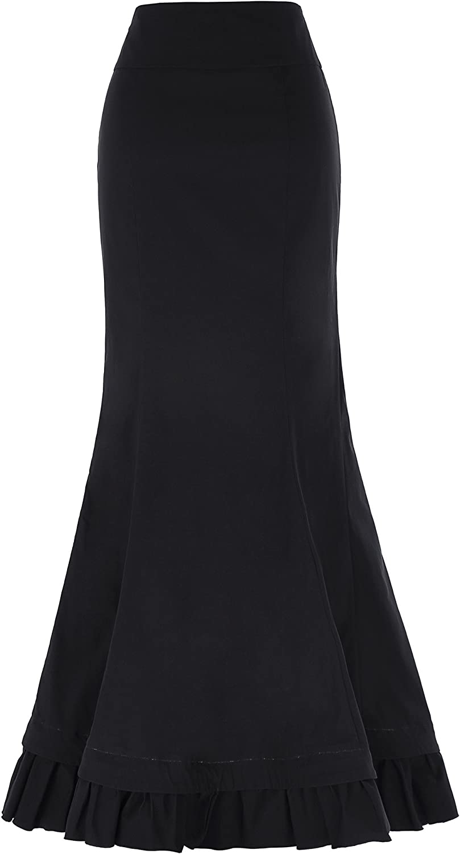 Classic Cotton Womens Gothic Long Skirt High Waist Lace Up Size XL Black BP203-1