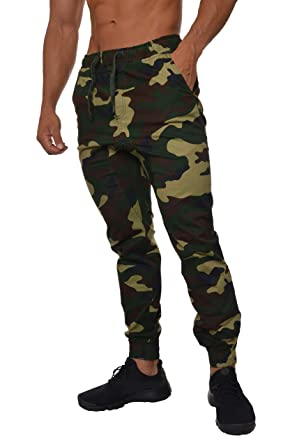 de5ab2c01 YoungLA Joggers Pants for Men Chino Pantalones De Hombre Twill Camo Green  XX-Small
