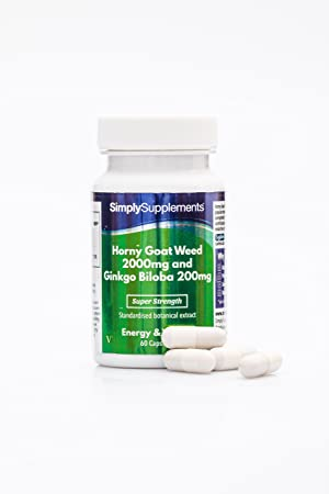 Horny goat weed 2000mg con Ginkgo Biloba 200mg - 60 cápsulas - Favorece una salud sexual saludable - SimplySupplements: Amazon.es: Salud y cuidado personal