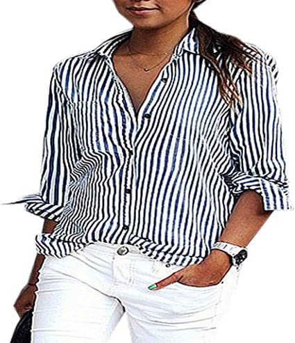 Camisa Manga Larga con Solapa Camisas De Fox Retro Otoño Mujeres Tops con Botones Blusa De Rayas Moda Camisas: Amazon.es: Ropa y accesorios