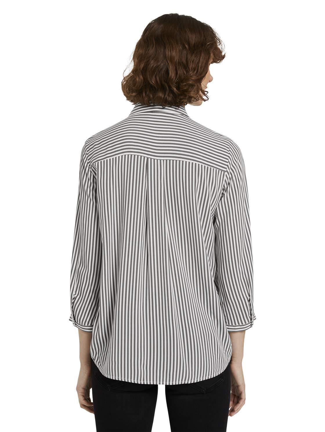 TOM TAILOR dam ränder sommar blus 25350 - Grey Vertical Stripe