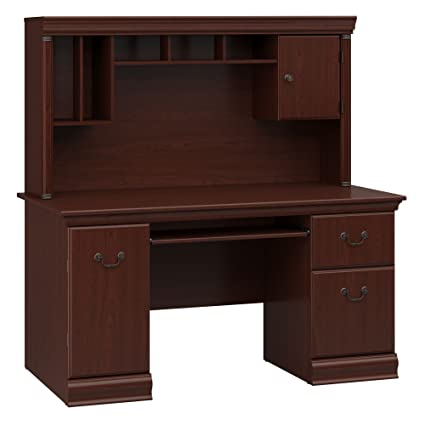 Superbe Bush Furniture Birmingham Office Desk With Hutch In Harvest Cherry